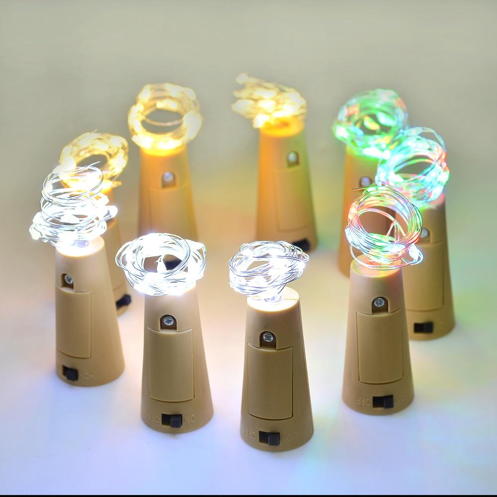 2PCS / Lot 2M 20 LED Cork Bottle Stopper berbentuk LED String Lights - Pencahayaan perayaan - Foto 6