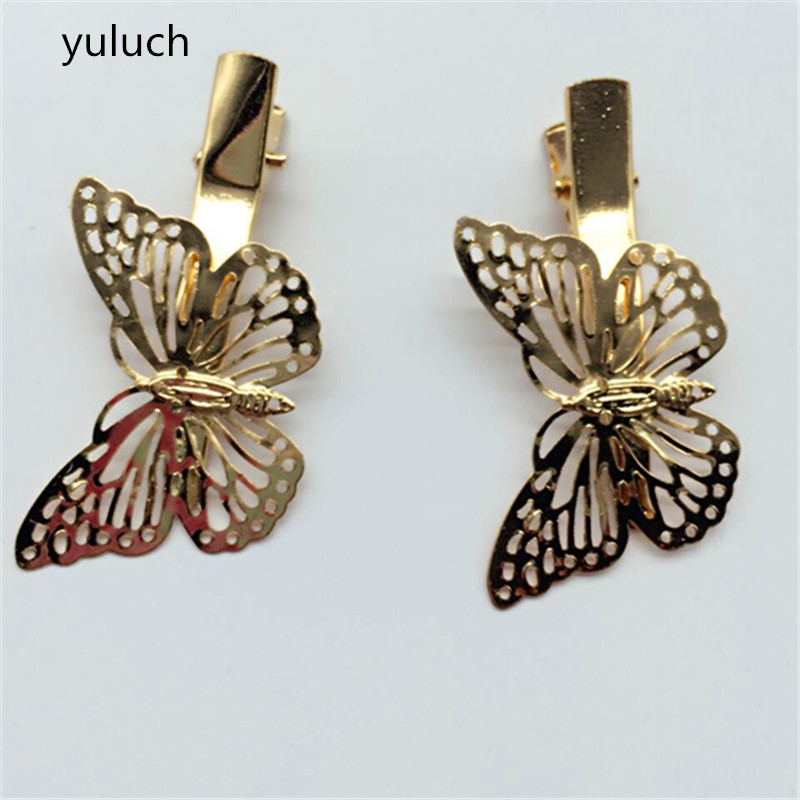 new arrival cheap A word hairpin clamp pearl butterfly gold top clip