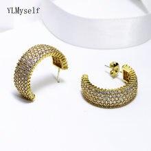 Роскошные серьги кольца с фианитами золотыми пластинами полукруглые