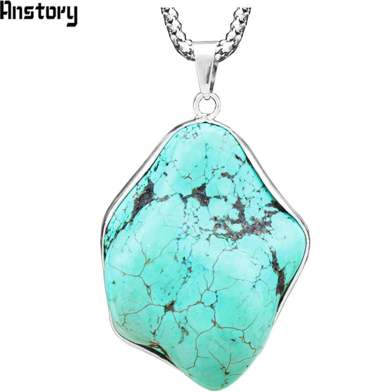 Irregular Pendant Natural Stone Necklace For Women Vintage Antique Silver Plated Unique Random Design Fashion Jewelry TN188 26 inch synthetic lace front wigs heat resistant full wig long straight hair brown