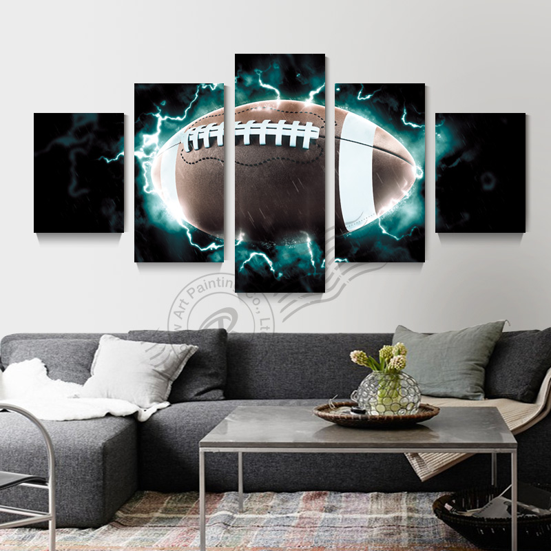 5 panel Rugby NFL lienzo pintura pared arte cuadros moderno ...