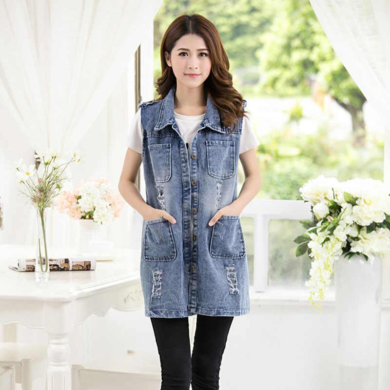 AKSLXDMMD плюс размер S-5XL 2019 весна осень новая звезда Мода женщин винтажный джинсовый жилет с дырами женский джинсовый жакет длинный внешний YR039