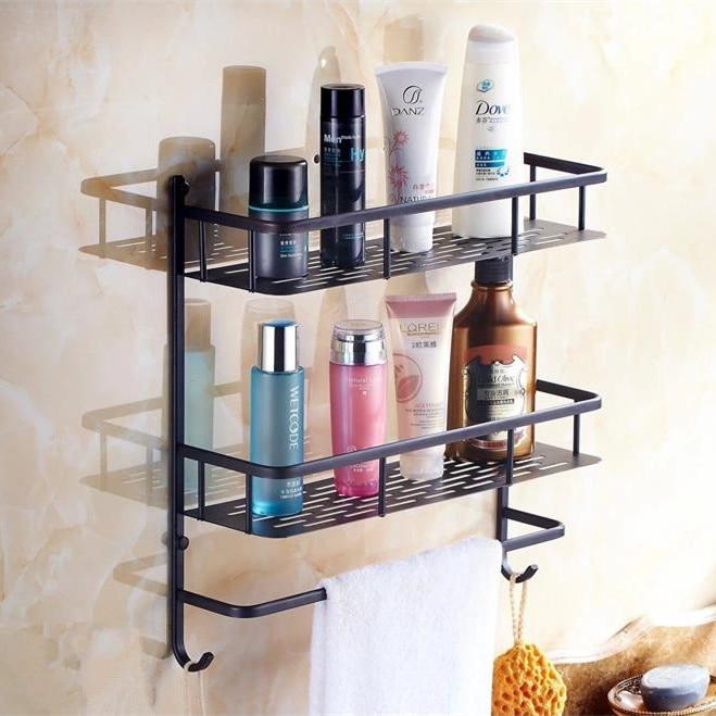 Wall Mounted Bathroom Shelf Double Layer 40 cm Rack Storage Rack Cosmetic Basket Bathroom Accessories Shelf Home Decor HJ-833 цены