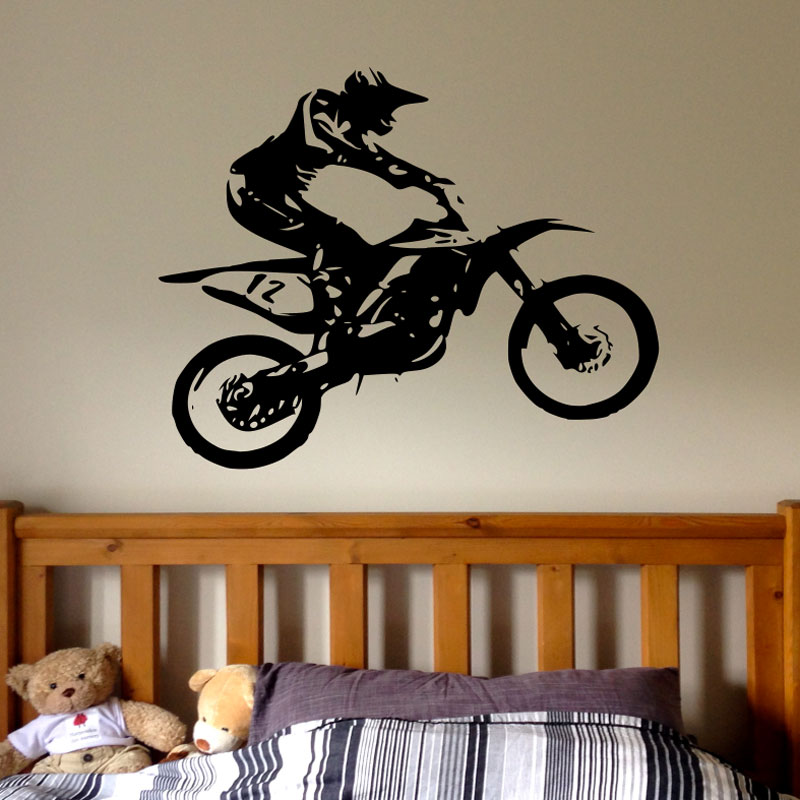 Motocross Wall Decal Boy Dirt Bike Wall Decals Personalized Stickers