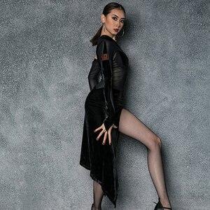 Image 4 - Vestido de baile latino de LICRA para mujer, ropa Sexy de baile de Salsa, vestidos de competición, Ropa de baile de corte alto para práctica de Samba 2020