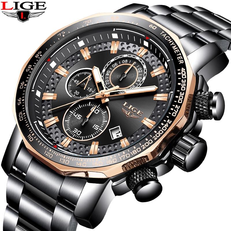 Relogio Masculino Men's Analog Quartz Watch LIGE Top luxury Brand Men Sports Waterproof Watches Army Military Full steel Clock