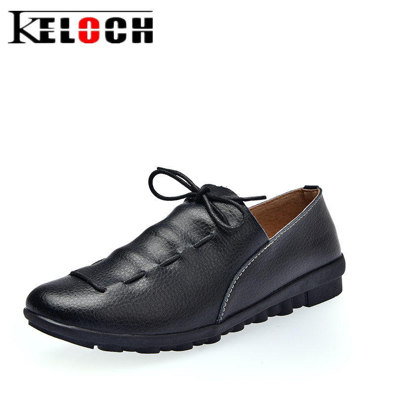 Keloch 2017 Women Flats Spring Summer Genuine Leather Causal Slip On Loafers Ladies Slipony Female Flat Shoes Chaussure Femme