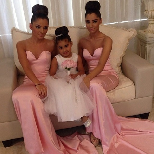 Pink Mermaid Bridesmaid Gown Navy Blue Peach Ivory Champagne Silver Yellow