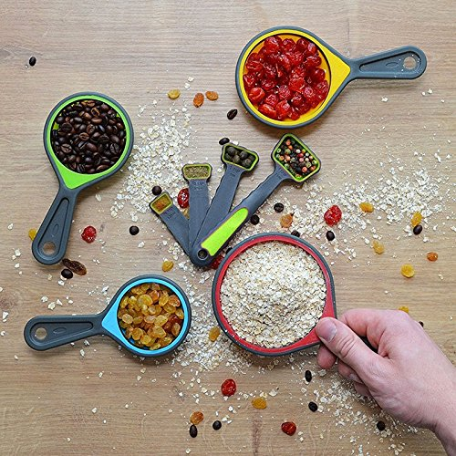 Collapsible Measuring Cups And Spoons Portable 8 Piece Measuring Tool Set  For Liquid Dry Measuring Food