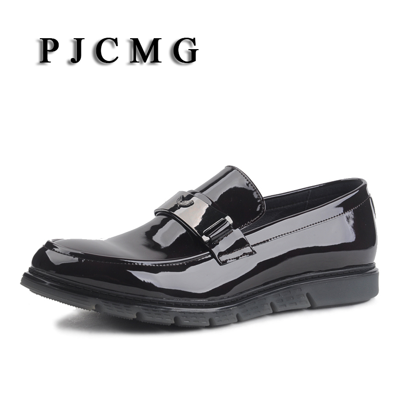 PJCMG Designer Classic Men Dress Slip-On Genuine Leather Black/White Pointed Toe Carved Italian Formal Oxfords Size38-44