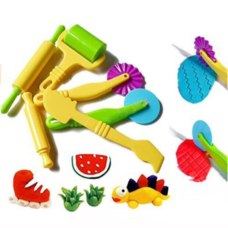 Color Play Dough Model Tool Toys Creative 3D Plasticine Tools Playdough Set Clay Moulds Deluxe Set Preschool Education Toys