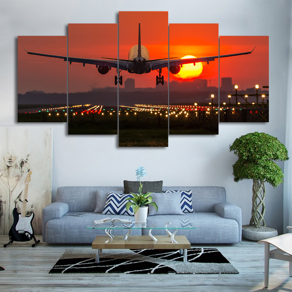 Decor Poster Frame Living Room HD Printed Pictures 5 Piece/Pcs Red Sunset Landscape And Airplane Modern Wall Art Home Painting image