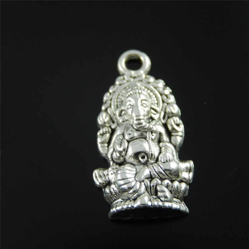 ג 'ולי וואנג 10pcs מיני קסמי סגסוגת עתיק כסף צבע בודהה פיל אלוהים גנש קסם תליון בעבודת יד תלוי מלאכות