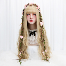 32 Cosplay Blonde Wig With Bangs Long Wave Synthetic Hair Custom Party Cosplay Lolita Wigs For Black/White Women Heat Resistant elegant blonde side bang capless long big wave heat resistant synthetic wig for women