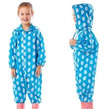 Raincoat Kids Jumpsuit Children  One-Piece Cartoon Hooded Raincoat Suit Multi Colors Rainwear