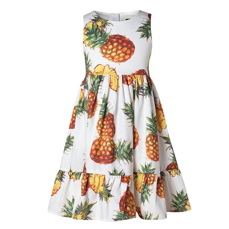 Keelorn Girls Dresses 2017 New European And American Style Children Sleeveless Pineapple Pattern Princess Dress Kids Cute Dress