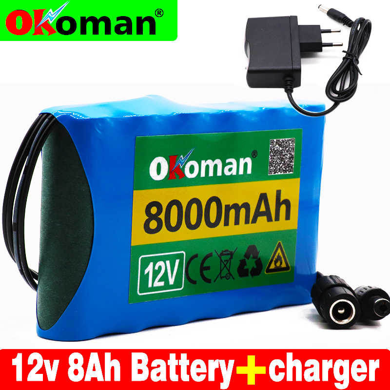 Original Portable Super 12V 8000mah battery Rechargeable Lithium Ion battery pack capacity DC 12.6v  8Ah CCTV Cam Monitor