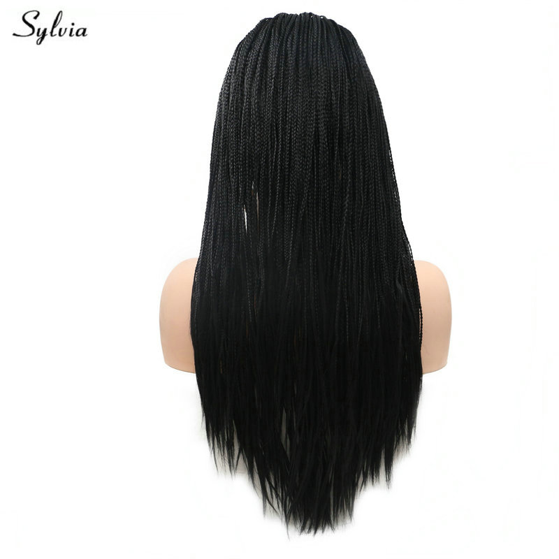Sylvia Heat Resistant 1B Black Natural Hairline Long Synthetic Lace Front Wigs For Women Cosplay Braided