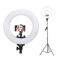 Tolifo 14 R40B AC LED Ring Light with Stand Kit 40W Bi color 3200 5600k included Mirror for Youtube Video Makeup Photography