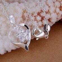Free Shipping silver plated Necklace, sterling-silver-jewelry Heart flower zircon /RBYAKWJW RBYAKWJW