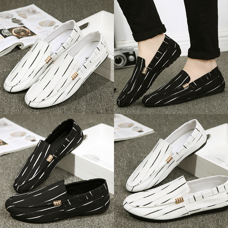 Men Flat Loafers Casual Striped Non-slip Lazy Peas Shoes Breathable Driving Shoes Student Loafer Shoes