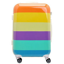 KUNDUI 2024inch Rainbow ABS+PC trolley suitcase luggage/Pull Rod trunk/traveller case box with spinner wheel women bags bolsos(China)