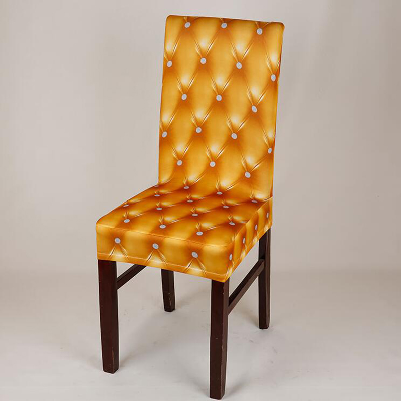 Faux leather pattern Printed Dining Chair Cover Removable Elastic Banquet Folding Dining Room Chair Cover For Kitchen Chair