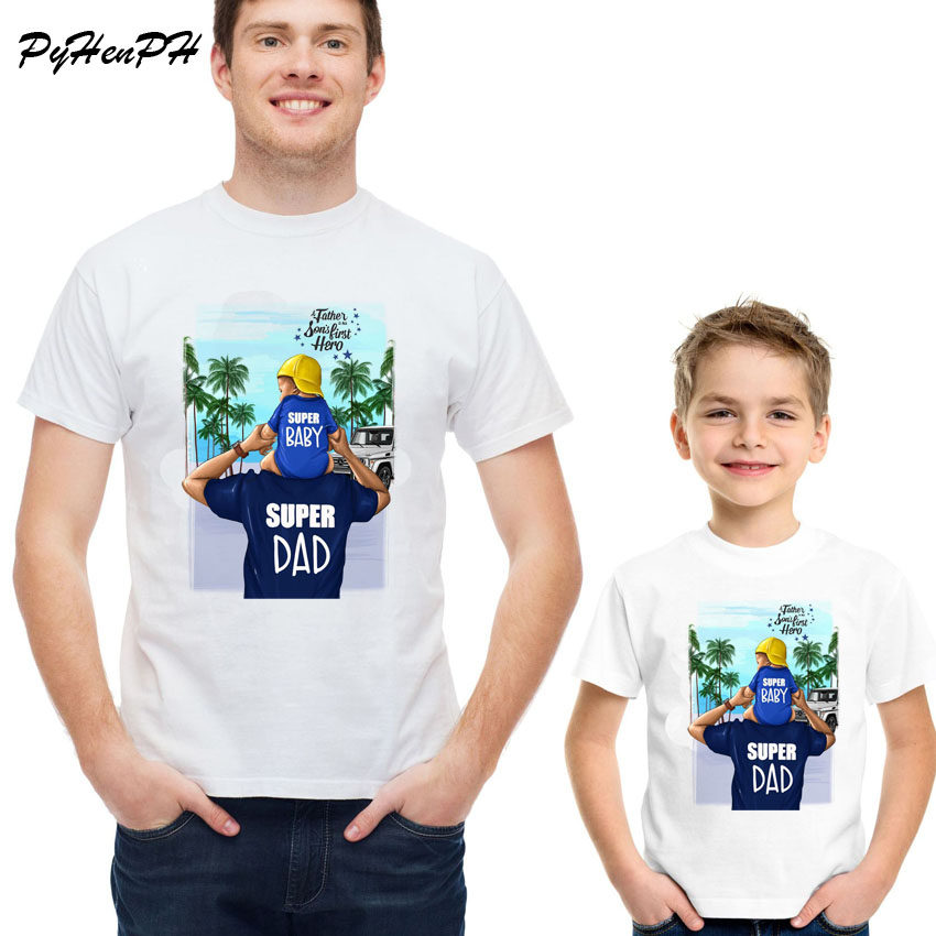 New 2019 Father And Son Style T-shirt Super Dad And Super Baby T Shirt Men Boy Family Matching Tshirt Male Father's Day Demand Exceeding Supply