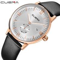 CUENA Brand Men Quartz Wristwatches Fashion Casual Watches Male Clock Genuine Leather Relojes Waterproof Relogio Masculino