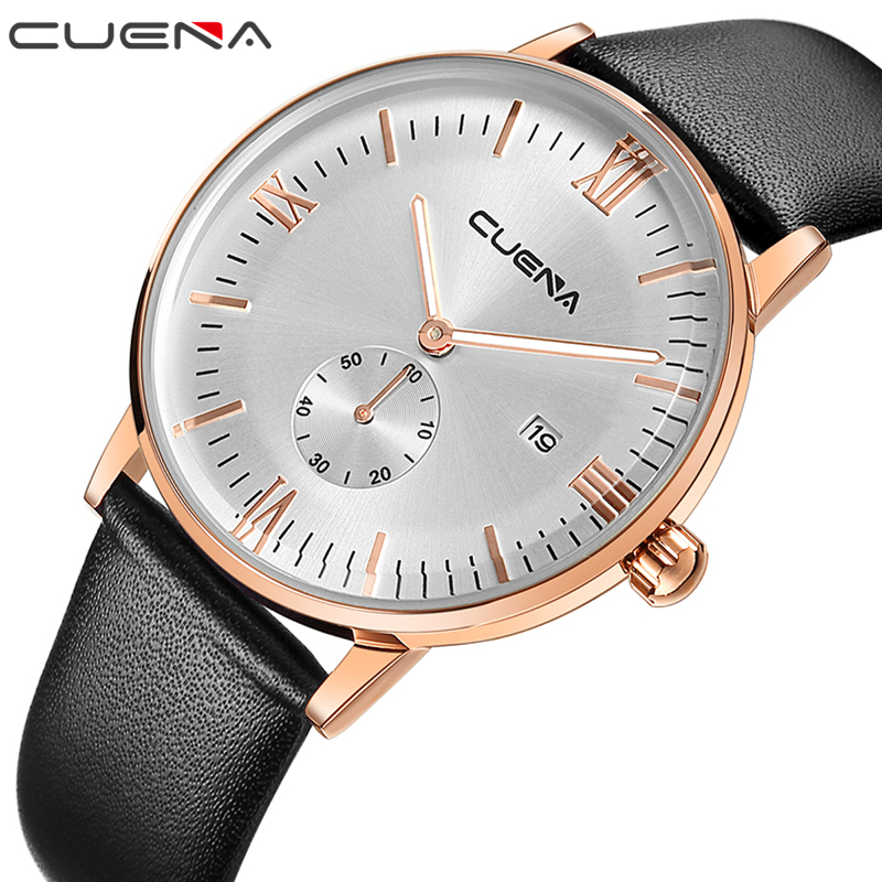 CUENA Brand Men Quartz Wristwatches Fashion Casual Watches Male Clock Genuine Leather Relojes Waterproof Relogio Masculino 6623
