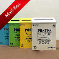 Excellent Quality Metal Box Wall Mounted Mailbox Tin Newspaper Letter Mail Box No Lock Bucket Free