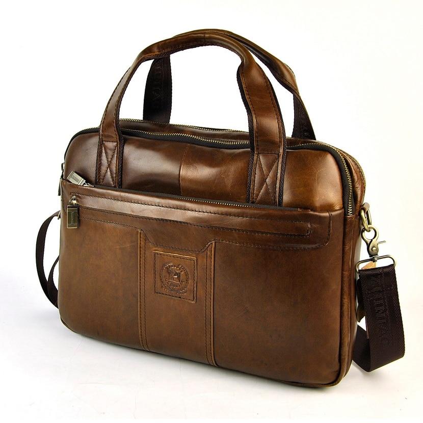 Laptop Briefcase Cross-Body-Bag Real-Leather Messenger Business-Work Shoulder Vintage