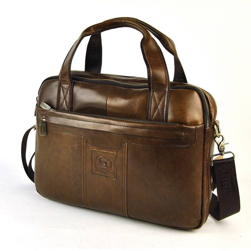 Men Retro Genuine Real Leather Laptop Briefcase Vintage Shoulder Cross Body Bag Messenger Classic 5 Zip Practical Business WorkMen Retro Genuine Real Leather Laptop Briefcase Vintage Shoulder Cross Body Bag Messenger Classic 5 Zip Practical Business Work