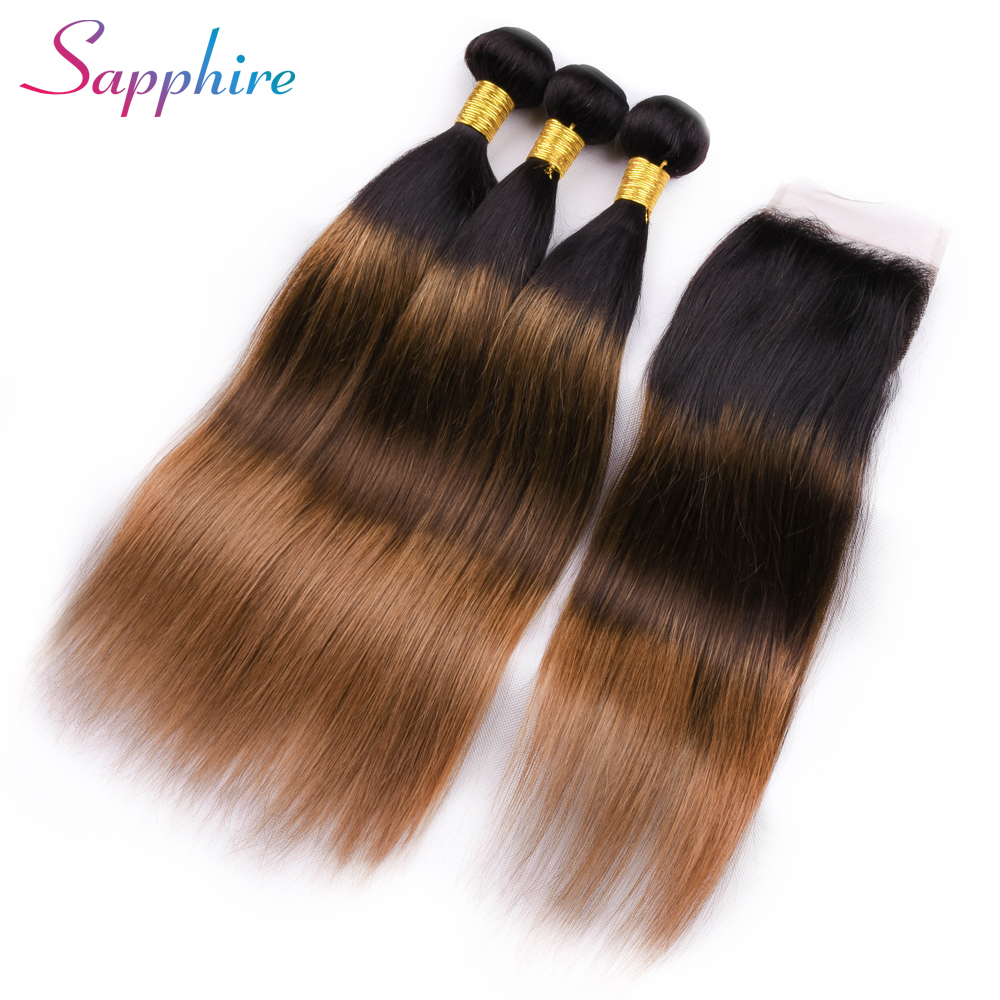 Sapphire Ombre TB/4#/30# Bundles With Closure 4*4 Free Part Lace Closure Brazilian Straight Human Hair 3 Bundles With Closure