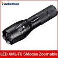 Фонарик cree xm-l t6 Масштабируемые 5 Режимов водонепроницаемый черный 3800lm лампе led-торша torchlanterna для 18650 zk50