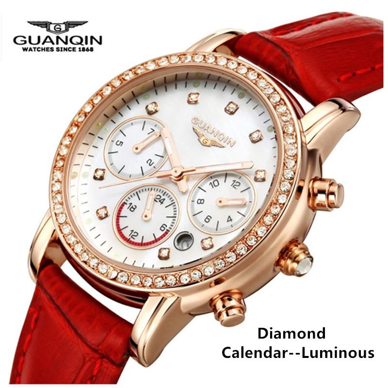 Brand Luxury GUANQIN Quartz Ladies Watches Leather Women Watches Fashion Casual Waterproof Female Wristwatches Montre Femme