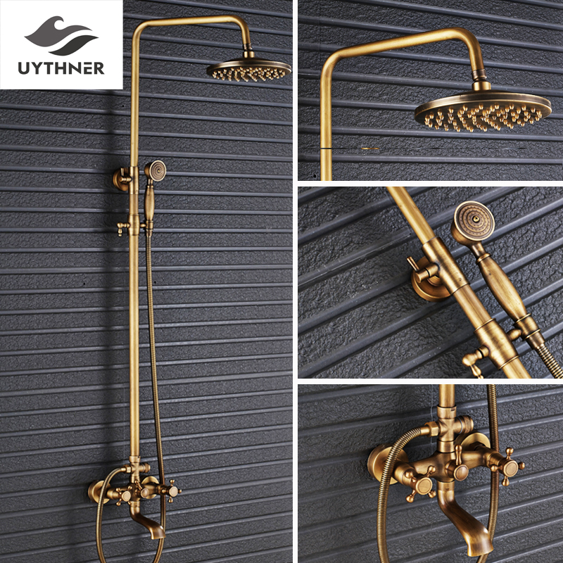 Uythner Wall Mounted Antique Brass 8 Inch Round Rainfall Shower Head Wide Tub Spout Brass Hand