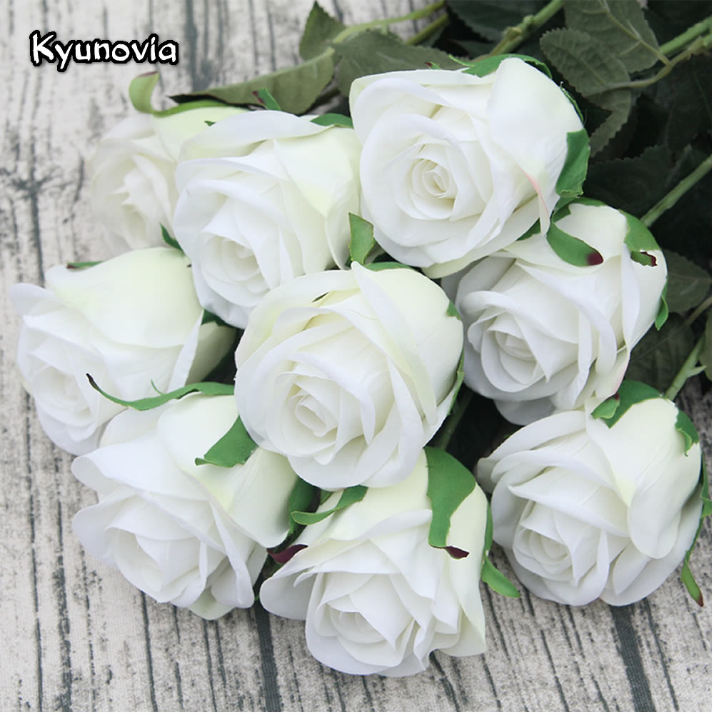 Kyunovia 5pcslot 72cm Single Rose Stem High Quality Artificial Silk