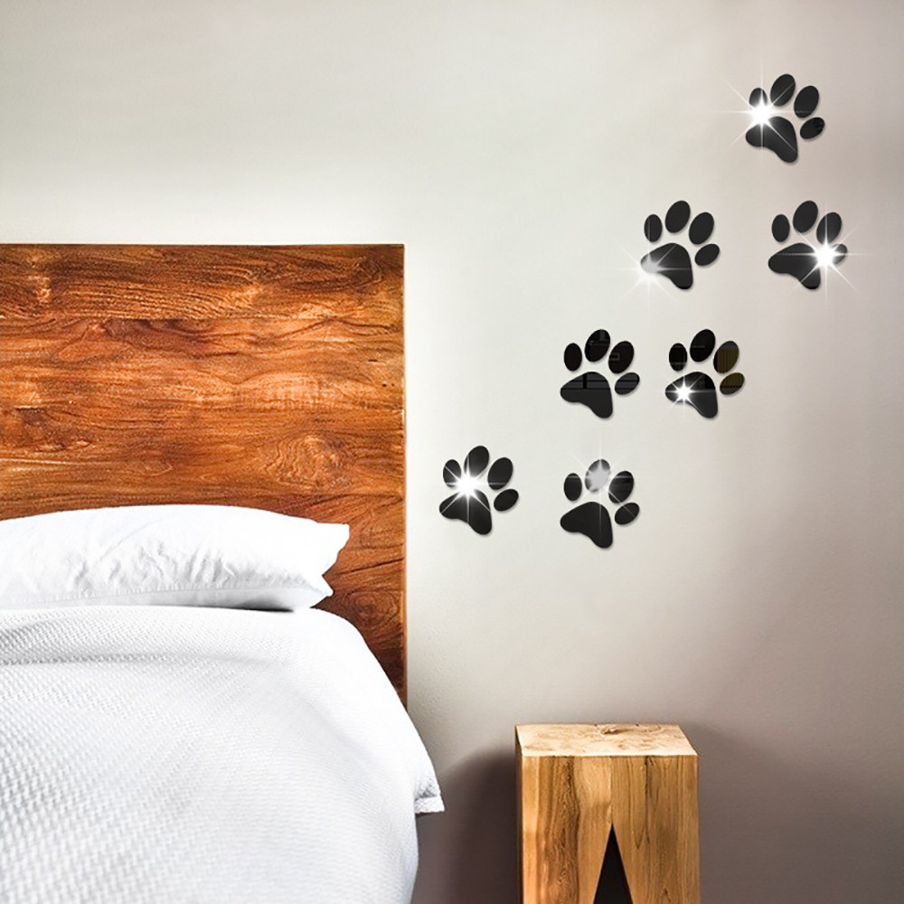 7pcs Hot Sale 3D Wall Stickers Mirror Cute Kawaii Dog Footprints Wall Acrylic Wall Stickers For Kids Children Rooms DIY Decor