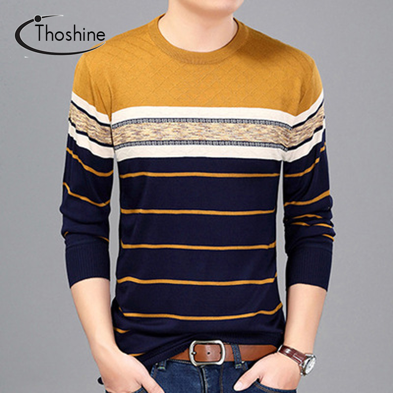 Thoshine Brand Spring Autumn Style Men Knitted Thin Sweaters O-Neck Striped Long Casual Wool Pullovers Lightweight Male Outwear