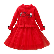 2019New Flower Warm New Year Girl Dress For Wedding Party Dresses Winter Kids Girls Clothes Childern Princess Dress Red 2 3-8T 2018 brand new toddler infant kids child party wedding formal dresses rose girl princess dress flower chiffon sundress kids 2 8t