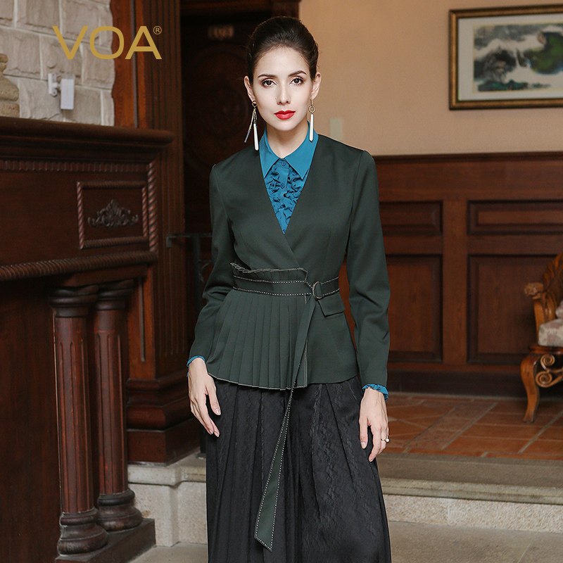 VOA V Neck Tunic Heavy Silk Blazer Women Slim Cummerbunds Belt Long Sleeve Wrap Coat Ladies Short Suit Jacket Ceket WSX00201