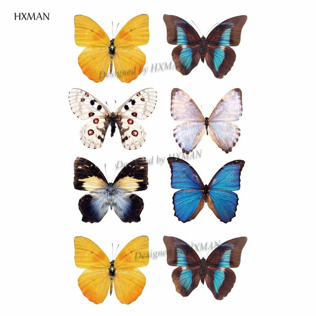HXMAN Watercolor Butterfly Temporary Tattoo Sticker Waterproof Women Fake Tattoos Men Children Body Art Hot Design 9.8X6cm A-001 3