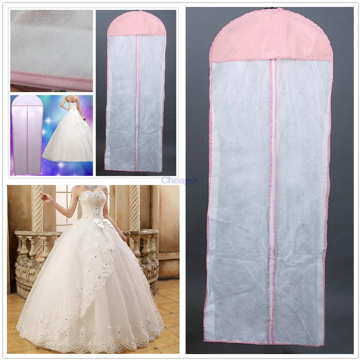 New White Breathable Wedding Prom Dress Bridal Gown Garment Hanging Storage Bag Clothes Dust Cover Zip Cane In Bags From Home Garden On
