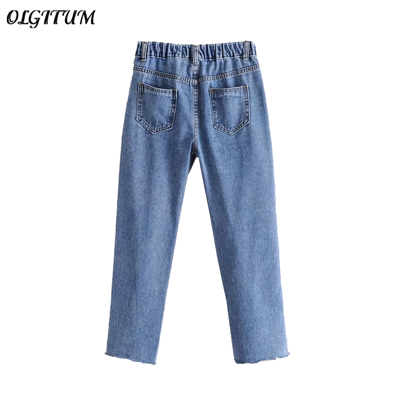 2018 Spring New Women Jeans Fashion Loose Wild Elastic Waist Water Wash Jeans Casual Wide Leg Denim Pants Lady Solid Jeans