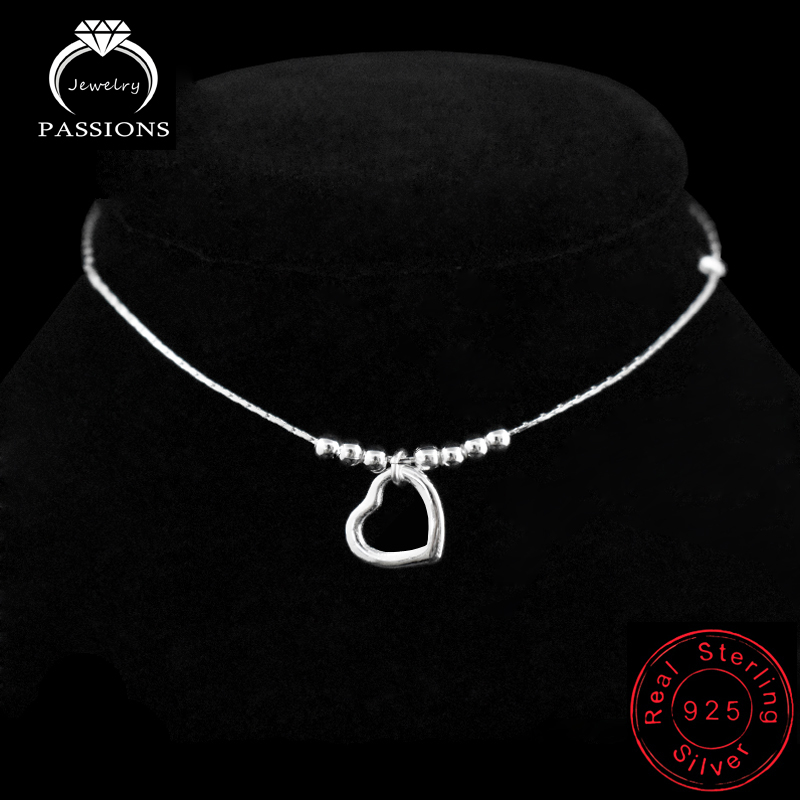 New Fashion Foot Anklet 925 Sterling Ladies Silver Anklets Bracelet Chain For Women Love-Heart Pendant Chain On Foot Jewelry