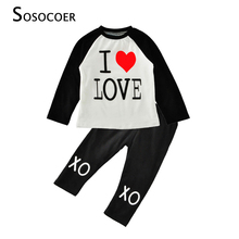 SOSOCOER Baby Girl Clothing Sets 2017 Autumn Letter Love T Shirts+XO Pants Kids Boy Clothes Red Heart Little Girls Clothing Set