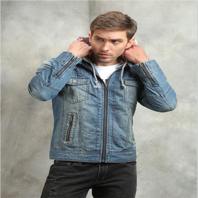 New Winter Jacket Men Hooded Jean Jacket Men Denim Jackets Slim Fit Men's Jeans Casual Retro Men's Jackets Plus Size A2090 2017 new designer korea men s jeans slim fit classic denim jeans pants straight trousers leg blue big size 30 34