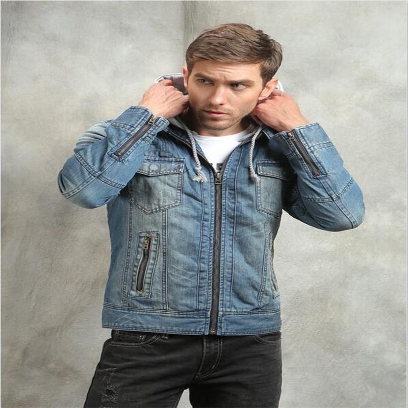 New Winter Jacket Men Hooded Jean Jacket Men Denim Jackets Slim Fit Mens Jeans Casual Retro Mens Jackets Plus Size A2090