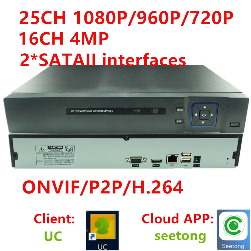 16CH 4MP 25ch channel 1080P CCTV NVR DVR Recorder Onvif  Real Time Playback HDMI Output HD720P/960P/1080P Network For Ip Cameras